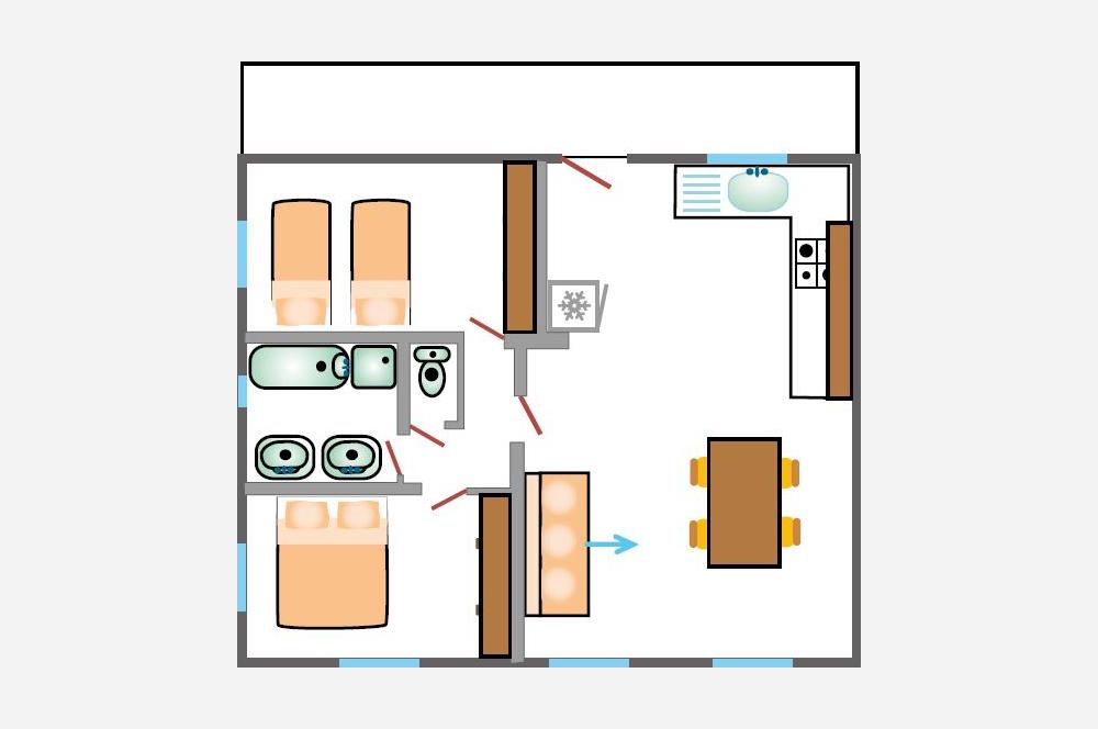 La Rabeaudière 2: plattegrond van de appartementen